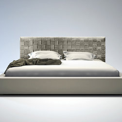 Madison Bed - Modloft Furniture - The Madison is elegantly designed with a complex woven leather headboard and simple leather frame. The leather headboard is hand woven featuring a sophisticated overlapping technique. Flexible wood slats sit inside the bed frame and allow air to circulate beneath the mattress. No box spring necessary; simply use an innerspring or latex foam mattress. Platform height measures 12 inches (2 inch inset). Available in California-King, Standard King, Queen, and Full sizes. Colors available include White, Plum, and Dusty Grey bonded leathers. Solid hardwood construction