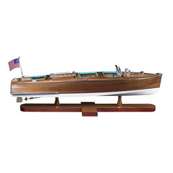 Authentic Models - Triple Cockpit Runabout Scale Model - Leather seats. Inlaid wood deck. Highly detailed finish. Plank on frame construction. Varnished and polished wood. 25.2 in. L x 7.9 in. W x 7.5 in. H