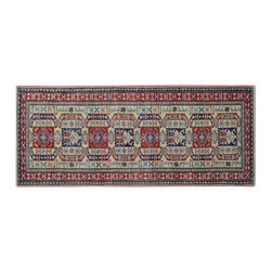 1800-Get-A-Rug - 100% Wool Ivory Super Kazak Runner Hand Knotted Oriental Rug Sh15347 - Our Tribal & Geometric Collection consists of classic rugs woven with geometric patterns based on traditional tribal motifs. You will find Kazak rugs and flat-woven Kilims with centuries-old classic Turkish, Persian, Caucasian and Armenian patterns. The collection also includes the antique, finely-woven Serapi Heriz, the Mamluk Afghan, and the traditional village Persian rug.