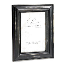 Lawrence Frames - Weathered Black Wood 5x7 - Beautiful distressed Black wood picture frame.  Hand finished so that every piece is unique and different.  Designer wood picture frame has a casual but elegant decorative look.  High quality black velvet backing.  Frame can stand vertically or horizontally and comes with hangers for horizontal or vertical wall mounting.   Individually boxed.