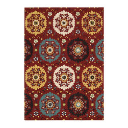 Payless Rugs - Suzani Red Rug - Hooked Suzani style rug utlizes folklore style patterns with bold attention grabbing coloration. Made of 100% wool - dense pile