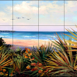 The Tile Mural Store (USA) - Tile Mural - Summer'S Day - Kitchen Backsplash Ideas - This beautiful artwork by Laurie Snow Hein has been digitally reproduced for tiles and depicts a colorful beach scene.  Beach scene tile murals are great as part of your kitchen backsplash tile project or your tub and shower surround bathroom tile project. Waterview images on tiles such as tiles with beach scenes and sunset scenes on tiles.  Tropical tile scenes add a unique element to your tiling project and are a great kitchen backsplash  or bathroom idea. Use one or two of our beach scene tile murals for a wall tile project in any room in your home for your wall tile project.