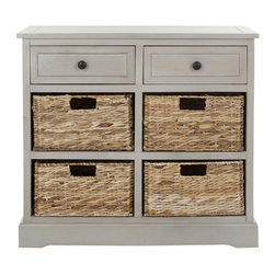 Safavieh - Herman Storage Unit - Vintage Grey - Country charm with an easygoing twist characterizes the Herman storage unit. With its four removable woven baskets and pine construction in vintage grey, storing or finding what you need has never been easier.