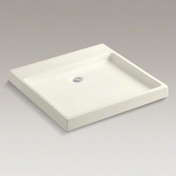 KOHLER - KOHLER Purist(R) Wading Pool(R) above-counter/wall-mount bathroom sink - Capturing the calm of a reflecting pool, the Purist Wading Pool sink offers sleek, angular lines and a shallow basin to transform your bathroom into a home spa environment. This fireclay sink adds a peaceful feeling to any bathroom with its minimalist style. Complete the sink with the Purist medicine cabinet with laminar faucet or a Purist wall-mount faucet with minimum spout length of 12 inches from a finished wall.