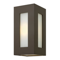 Hinkley Lighting - Dorian Sm Wall Outdoor - Dorian's robust design in durable aluminum construction is offered in either Titanium or Bronze finishes. This contemporary fixture allows light to emit from white etched glass windows.