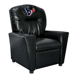 Imperial International - Houston Texans NFL Faux Leather Kids Recliner - Check out this awesome Kids Recliner. Now the whole family can join in and watch the game in their favorite chair! It has a great contemporary design with black faux leather all over, and a cup holder. The team logo is embroidered and sewn on the headrest. It's perfect for your Man Cave, Game Room, Garage or Basement.