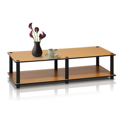 Furinno - Furinno 11175 Just No Tools Wide TV Stand, Light Cherry/Black - Furinno Just Series No Tools No Hassles features the serenity of the Japanese living room life style. The designs are simple and basic which fit into a modern stylish lifestyle. This series are made of 12mm E1 Grade Particleboard made from recycled materials of rubber trees, eco-friendly. All the materials are manufactured in Malaysia and comply with the green rules of production. There is no foul smell, durable and the material is the most stable amongst the particleboards. A simple attitude towards lifestyle is reflected directly on the design of Furinno Furniture, creating a trend of simply nature. All the products are produced and assembled 100-percent in Malaysia with 95% - 100% recycled materials.