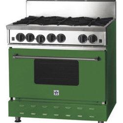 "36"" BlueStar RNB Gas Range - Emerald (RAL Color #6001) 36"" RNB Gas Range that has 6 Top Burners"
