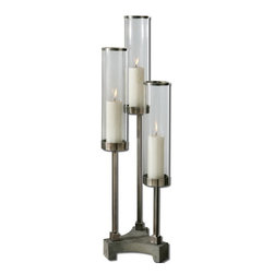 Uttermost - Uttermost 19722  Risto Brushed Aluminum Candleholder - Brushed aluminum accents with clear glass globes and concrete base. distressed beige candles included.