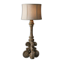 Uttermost - Cavour Aged Concrete Buffet Lamp - Aged concrete with heavy rust antiquing. The round semi bell shade is an oatmeal linen, weather resistant fabric. For indoor or outdoor use.
