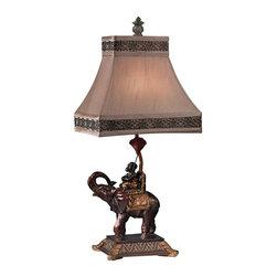 Dimond - One Light Brasilia Bronze Light Taupe Faux Silk Shade Table Lamp - One Light Brasilia Bronze Light Taupe Faux Silk Shade Table Lamp