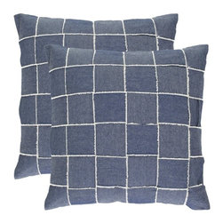 Safavieh - Safavieh Levi Pillow X-2TES-8181-A351LIP - The fashion trend to patchwork inspired a casual accent pillow created from strips of cotton denim with frayed white edges. Interwoven vertically and horizontally the denim strips create a contemporary young windowpane plaid.