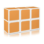 Way Basics - Way Basics 6 Box Storage Cube Stackable, Orange - Box will easily stack, connect and align to create your perfect organizer! Form a 6-tiered nightstand or a side by side double cubby and accessorize with a door to hide that inevitable clutter. The simple, modern design of the Bo will complement and adorn any room.