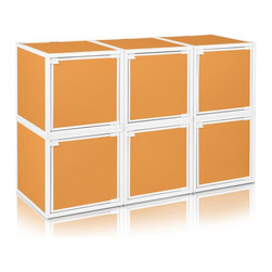 Way Basics - BOX (6 cubes), Orange - Box will easily stack, connect and align to create your perfect organizer! Form a 6-tiered nightstand or a side by side double cubby and accessorize with a door to hide that inevitable clutter. The simple, modern design of the Bo will complement and adorn any room.