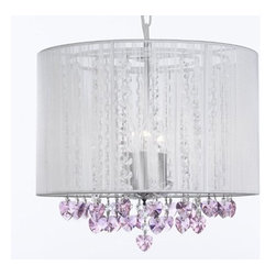 The Gallery - Crystal chandelier with Large White Shade and Pink Crystalearts - 100% crystal chandelier. A Great European Tradition. Nothing is quite as elegant as the fine crystal chandeliers that gave sparkle to brilliant evenings at palaces and manor houses across Europe. This beautiful chandelier has 3 lights and is decorated and draped with 100% crystal that captures and reflects the light of the candle bulbs. This wonderful chandelier also comes with the large shade as shown. The timeless elegance of this chandelier is sure to lend a special atmosphere anywhere its placed!
