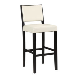 "Linon Home Decor - Linon Home Decor Zoe Bar Stool - White X-U10THW606220 - The Zoe Bar Stool exudes sleek modern style and appeal. The black finished, straight lined legs keep the stool sophisticated, while the wipe clean White PU upholstery adds fun flair to the piece. Sturdy and durable, the Zoe Stool is the perfect choice for a high top table, kitchen counter or home bar. 30"" Seat Height. 275 pound weight limit."