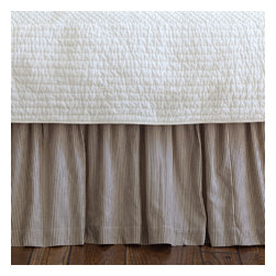 Taylor Linens - Farmhouse Stripe Twin Bed Skirt - Wake up to timeless ticking. Brown and cream pinstripes will look great with everything from your cottage floral pillowcases to your modern channel-stitched quilt. Made of 100 percent cotton and machine washable, the bedskirt features a hemstitched edge and gentle ruffles for rest-easy style.