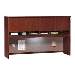 Bush Business - Hansen Cherry Desktop Storage Hutch w 4 Door - The 72 inch Hansen Cherry Desktop Storage Hutch with 4 Door Cabinet greatly expands the privacy, utility and storage capacity of any large 71 inch wide desk or credenza.  This stylish hutch features European-style self-closing, adjustable hinges and accepts optional task lighting. * Mounts on two adjacent Lateral Files. Mounts on any 71 in. wide desk or combination. Includes fabric-covered tackboard. Fully finished back panel. Accepts two task lights (not included). European-style, self-closing, adjustable hinges. Hansen Cherry finish. 70.984 in. W x 15.354 in. D x 42.992 in. H