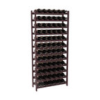 72 Bottle Stackable Wine Rack in Redwood with Burgundy Stain + Satin Finish - Four kits of wine racks for sale prices less than three of our 18 bottle Stackables! This rack gives you the ability to store 6 full cases of wine in one spot. Strong wooden dowels allow you to add more units as you need them. These DIY wine racks are perfect for young collections and expert connoisseurs.