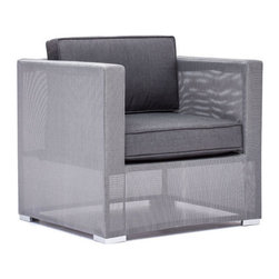 Zuo Modern - Clear Water Bay Arm Chair - Unique gauzy frame grounded by sturdy gray cushions will transform any outdoor space. Versatile and lovely, the Clear Water Bay series boasts a durable aluminum frame and water resistant cushions.