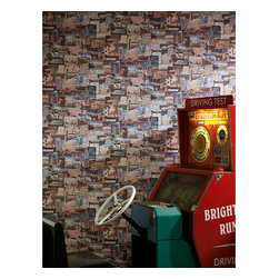 Kathy Kuo Home - Pin board Postcards Travel Newspaper Wallpaper - Multi - A vintage wallpaper depicting postcards, travel, and mixed media. Great for studies and offices.
