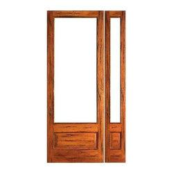 "Prehung Rustic-1-lite-P/B Patio Solid Wood 1 Panel IG Glass Sidelight Door - SKU#Rustic-1-lite-P/B-Ext-1-1BrandAAWDoor TypeFrenchManufacturer CollectionRustic French DoorsDoor ModelDoor MaterialWoodWoodgrainTropical HardwoodVeneerPrice1514Door Size Options[24""+14"" x 96""] (3'-2"" x 8'-0"")  $0[24""+18"" x 96""] (3'-6"" x 8'-0"")  $0[30""+14"" x 96""] (3'-8"" x 8'-0"")  +$10[30""+18"" x 96""] (4'-0"" x 8'-0"")  +$10[32""+14"" x 96""] (3'-10"" x 8'-0"")  +$10[32""+18"" x 96""] (4'-2"" x 8'-0"")  +$10[36""+14"" x 96""] (4'-2"" x 8'-0"")  +$10[36""+18"" x 96""] (4'-6"" x 8'-0"")  +$10Core TypeSolidDoor StyleDoor Lite Style3/4 Lite , 1 LiteDoor Panel Style1 Panel , Chamfer StickingHome Style MatchingMediterranean , LogDoor ConstructionEngineered Stiles and RailsPrehanging OptionsPrehungPrehung ConfigurationDoor with One SideliteDoor Thickness (Inches)1.75Glass Thickness (Inches)1/2Glass TypeDouble GlazedGlass CamingGlass FeaturesInsulated , Tempered , low-E , Beveled , DualGlass StyleClear , White LaminatedGlass TextureClear , White LaminatedGlass ObscurityNo Obscurity , High ObscurityDoor FeaturesDoor ApprovalsFSCDoor FinishesDoor AccessoriesWeight (lbs)510Crating Size25"" (w)x 108"" (l)x 52"" (h)Lead TimeSlab Doors: 7 daysPrehung:14 daysPrefinished, PreHung:21 daysWarranty1 Year Limited Manufacturer WarrantyHere you can download warranty PDF document."