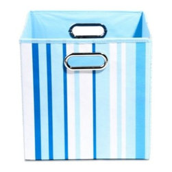 Modern Littles - Modern Littles Sky Canvas Folding Storage Bin in Stripes - Getting the blues is a good thing! Modern Littles brings the sky down to earth in this collection of bins that celebrates the true-blue hue.