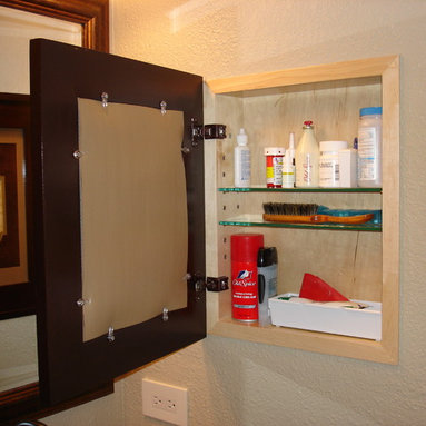 Recessed Picture Frame Medicine Cabinets with No Mirrors - Large Unfinished #2 Concealed Cabinet with natural interior from ConcealedCabinet.com.  You insert your own artwork and change it as often as you like!