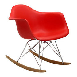 "LexMod - Rocker Lounge Chair in Red - Rocker Lounge Chair in Red - Not Grandma's rocking chair, this mid-century retro modern rocker, has the avant garde style of today that adds pizzazz to your room. Still a comfortable seat for lulling children to sleep or moving in time to music, this rocking chair is the symbol of the modern home. Set Includes: One - Molded Plastic Rocking Chair Chrome plated steel base, PP plastic seat, Solid wood rocker bottoms Overall Product Dimensions: 27""L x 24""W x 26""H Seat Dimensions: 17""L x 16""W x 16""H Armrest Height: 23""H - Mid Century Modern Furniture."