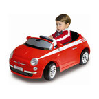 """MacDue - Motorama Jr. Fiat 500 Ride-on Car - It's cool! It's ultra-fashionable! It's retro-chic. The cutest car in the world is coming, and it's ready to conquer American hearts! The new fiat 500 is an icon for this century bringing Italian style to the world! Now your children can be among the first to experience the pleasure of driving this cult-status vehicle! The true-to-life, scale Fiat 500 enables your kids to enjoy the same great feelings you'll have for the full-size version. Features: -Lights and sounds. -Speed 2.7 mph. -Includes 6V7AH rechargeable battery pack for the car. -Child controls the car. -Durable plastic construction in red. -Recommended for 3 to 6 years of age. -Material: Plastic. -Assembly: No Assembly Required. -15.7"""" H x 19.7W x 36.6 L."""