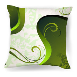 Ambiance Design - Abstract Green and White Modern Throw Pillow - Digital design, meet your modern loft. In an exclusive design, this abstract pillow will look fantastic on your stark white bedspread, or perhaps atop your bright red Danish modern sofa.