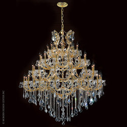 Worldwide Lighting Maria Theresa Chandelier W83002G46 - Worldwide Lighting Maria Theresa Collection 49 light Gold Finish and Clear Crystal Chandelier Four 4 Tier