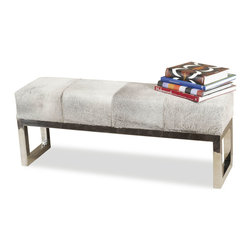 """Kathy Kuo Home - Moro Hollywood Regency Grey Hide Steel Bench - """"This luxurious bench doesn�t skimp on the Hollywood glamour while it serves its purpose. Place this gorgeous cowhide and steel bench at the end of your bed or use it for extra seating in the living room. Your friends will have to show immense willpower not to recline on the plush cushions if they're lucky enough to sit there."""