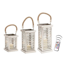 "Asian Import + USA - ZigZag Stainless Steel Rope Lantern Set - Light up your home with a collection of three unique lanterns with a decorator styling twist. Made of stainless steel and glass, candles can be placed in a wide opening lantern that has zigzag patterns and sleek finishing on all edges. These lovely candleholders feature a swivel style handle with a weaved thick twisted rope giving it a nautical look. Your guests will surely adore this one of a kind home decorator piece and praise your great choice. Sizes are 18"", 22"" and 25"" high. Included are 4"", 5"" and 6"" Avion Select melted edge color candles with remote control timer. Note that candles pictured are for presentation only. The candles included in the set are described above. Set of 3"