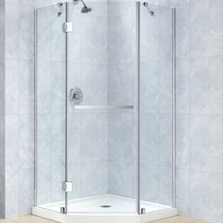 "Dreamline - Prism-X 40 3/8"" x 40 3/8"" Frameless Hinged Shower Enclosure, 3/8"" Glass Shower - The Prism-X shower enclosure has a unique corner installation design that saves space and becomes a beautiful focal point. A flowing frameless design and premium 3/8 in. thick tempered glass create the rich look of custom glass. The Prism-X is easy to install with innovative wall profiles and a wall-attached support bar. Add a DreamLine shower base and shower backwalls for a streamlined cost effective transformation."