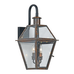 Quoizel - Quoizel RO8411AC Rue De Royal Traditional Outdoor Wall Sconce - From the Charleston Copper Lantern Collection, this piece gives you the historic look of gas lighting, but without the hassle of a propane feed. It is all electric, solid copper and hand riveted, giving your home the romantic, reproduction style of antique gas lights still popular today on many of the charming homes in New Orleans and Charleston.