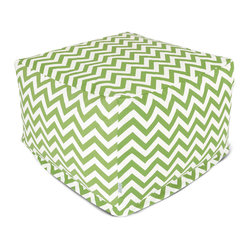 Outdoor Sage Chevron Large Ottoman