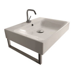 "WS Bath Collections - Cento 3531 Wall Hung or Counter Top Ceramic Sink 23.6"" x 17.7"" - Cento by WS Bath Collections Bathroom Sink 23.6 x 17.7, Designed by Marc Sadler of Italy, wall hung or counter top installation, in ceramic white"