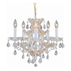 Crystorama - Crystorama 4405-GD-CL-MWP Chandelier - There's undeniable magic when light meets crystal or glass. It sparks the same fire one sees when light meets precious and semi-precious stones. Great lighting often takes styling cues from jewelry as well, with its primary use of gold and silver tones. J