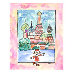 """Oh How Cute Kids by Serena Bowman - Girl in Russia, Ready To Hang Canvas Kid's Wall Decor, 16 X 20 - """"Privyet!!"""" ( Hello in Russian)   I love to travel. LOVE LOVE LOVE to TRAVEL. I love everything about it - new food, new streets, new people - I think it is best to way to experience life. This is part of my Travel Girl series that started out as a shout out to all the places I have been! I hope you enjoy my art as much as I enjoyed making it."""