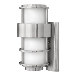 Hinkley Lighting - Hinkley Lighting Saturn Contemporary Outdoor Wall Sconce X-SS4091 - A unique cage design adds interest and appeal to this contemporary styled Hinkley Lighting outdoor wall sconce. From the Saturn Collection, the clean lines and curves are highlighted by a brilliant Stainless Steel finish. A soft etched opal glass shade has been used to pull the look together.