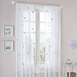 None - Mizone Taylor Flower Sheer Curtain Panel - Ideal for a girl's bedroom,this pretty white sheer curtain panel features randomly placed pink flowers adorned with beads. The dainty rod pocket permits quick easy installation. This delightful floral curtain will add a feminine touch to your home.