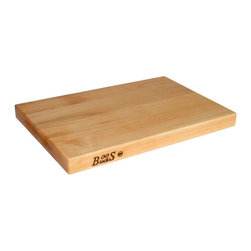 John Boos - 18 in. Reversible Cutting Board in Maple Fini - Rectangular eighteen-inch cutting board from John Boos is a must-have item for anyone who loves to cook.  Solid maple surface is super-smooth and will not dull knives like synthetic boards can.  Choose single unit or quantity of six for all kinds of foods. Includes hand grips. Hard maple edge grain construction. 1.5 in. Thick reversible cutting board. 18 in. L x 12 in. W