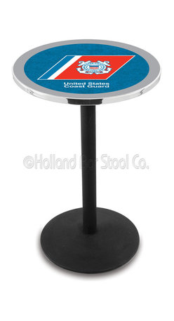 Holland Bar Stool - Holland Bar Stool L214 - Black Wrinkle U.S. Coast Guard Pub Table - L214 - Black Wrinkle U.S. Coast Guard Pub Table  belongs to Military Collection by Holland Bar Stool Made for the ultimate sports fan, impress your buddies with this knockout from Holland Bar Stool. This L214 U.S. Coast Guard table with round base provides a commercial quality piece to for your Man Cave. You can't find a higher quality logo table on the market. The plating grade steel used to build the frame ensures it will withstand the abuse of the rowdiest of friends for years to come. The structure is powder-coated black wrinkle to ensure a rich, sleek, long lasting finish. If you're finishing your bar or game room, do it right with a table from Holland Bar Stool.  Pub Table (1)