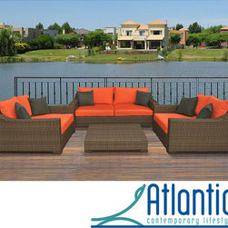 Atlantic - Lexington All Weather Aluminum/ Wicker Patio Set - Upgrade your outdoor seating area with this stunning patio set,which includes a sofa,two armchairs and a coffee table. Constructed with all-weather wicker over a durable metal frame,each piece is finished with a bold,water-resistant orange cushion.