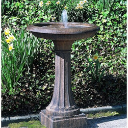 Campania International - Campania International Longmeadow Bird Bath Fountain - FT-52-NA - Shop for Garden Bird Baths from Hayneedle.com! About the Longmeadow Bird Bath FountainDress up your landscape with the Longmeadow Bird Bath Fountain. The inviting sound of softly cascading water will introduce an audible element of tranquility to your outdoor setting and call out to feathered friends. With a traditional pedestal and fluted column this fountain exhibits familiar elements of classic style to enhance your yard or garden. A resilient cast stone construction means this bird bath is designed to provide a lifetime of enjoyment. Available in several color options so you can find the perfect choice to complement your decor and satisfy your personal taste. This birdbath is outfitted with a fully functional fountain which will constantly aerate and refresh the water supply. It includes a quiet self-contained water pump that won't disturb birds and floral putty for quick easy installation. Set this birdbath fountain flowing and prepare to welcome birds into your outdoor retreat. About Campania InternationalEstablished in 1984 Campania International's reputation has been built on quality original products and service. Originally selling terra cotta planters Campania soon began to research and develop the design and manufacture of cast stone garden planters and ornaments. Campania is also an importer and wholesaler of garden products including polyethylene terra cotta glazed pottery cast iron and fiberglass planters as well as classic garden structures fountains and cast resin statuary.Campania Cast Stone: The ProcessThe creation of Campania's cast stone pieces begins and ends by hand. From the creation of an original design making of a mold pouring the cast stone application of the patina to the final packing of an order the process is both technical and artistic. As many as 30 pairs of hands are involved in the creation of each Campania piece in a labor intensive 15 step process.The process begins either with the creation of an original copyrighted design by Campania's artisans or an antique original. Antique originals will often require some restoration work which is also done in-house by expert craftsmen. Campania's mold making department will then begin a multi-step process to create a production mold which will properly replicate the detail and texture of the original piece. Depending on its size and complexity a mold can take as long as three months to complete. Campania creates in excess of 700 molds per year.After a mold is completed it is moved to the production area where a team individually hand pours the liquid cast stone mixture into the mold and employs special techniques to remove air bubbles. Campania carefully monitors the PSI of every piece. PSI (pounds per square inch) measures the strength of every piece to ensure durability. The PSI of Campania pieces is currently engineered at approximately 7500 for optimum strength. Each piece is air-dried and then de-molded by hand. After an internal quality check pieces are sent to a finishing department where seams are ground and any air holes caused by the pouring process are filled and smoothed. Pieces are then placed on a pallet for stocking in the warehouse.All Campania pieces are produced and stocked in natural cast stone. When a customer's order is placed pieces are pulled and unless a piece is requested in natural cast stone it is finished in a unique patinas. All patinas are applied by hand in a multi-step process; some patinas require three separate color applications. A finisher's skill in applying the patina and wiping away any excess to highlight detail requires not only technical skill but also true artistic sensibility. Every Campania piece becomes a unique and original work of garden art as a result.After the patina is dry the piece is then quality inspected. All pieces of a customer's order are batched and checked for completeness. A two-person packing team will then pack the order by hand into gaylord boxes on pallets. The packing material used is excelsior a natural wood product that has no chemical additives and may be recycled as display material repacking customer orders mulch or even bedding for animals. This exhaustive process ensures that Campania will remain a popular and beloved choice when it comes to garden decor.Please note this product does not ship to Pennsylvania.