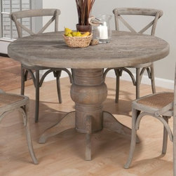 Jofran Booth Bay Round Pedestal Dining Table - With a distressed, burnt grey finish and blend of traditional and contemporary styles, the Jofran Booth Bay Round Pedestal Dining Table makes a gorgeous addition to your dining room. Built to last from solid oak, this table seats up to four people comfortably (chairs sold separately).About Jofran FurnitureJofran is a seller of fine home furnishings based in Norfolk, Mass. Launched in 1986, Jofran is known for the high-quality materials and meticulous methods that go into producing its products. Jofran furniture is easy-to-assemble and includes various styles from all around the world, making it easy to find a piece that suits your home decor.