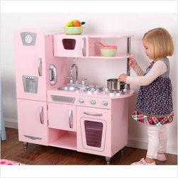 KidKraft Pink Vintage Kitchen - A classic vintage kitchen with modern sleekness, this delicate pink station allows for hours of imaginative play. From the fridge and freezer to the oven and microwave and wall phone, your little girlie will enjoy whipping up some amazing pretend fare.