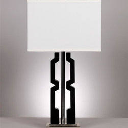 Signature Design by Ashley - Modern Table Lamps - Set of 2 in Black/Silver - Includes 2 lamps. A shiny black and chrome finished table lamp topped with a rectangular hardback shade and features a 3-way switch.. Color: Black - Silver. 15 in. W x 9 in. D x 29.5 in. H (17.2 lbs.)
