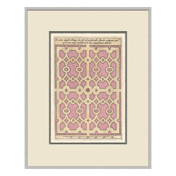 Soicher-Marin - Garden Plan F, Pink - Giclee print with a silver  contemporary wood frame with off white mat insert.  Includes glass, eyes and wire.  Made in the USA. Wipe down with damp cloth